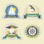 Summer sea emblems - stock illustration