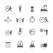 Time Management Icons Set Stock Illustration