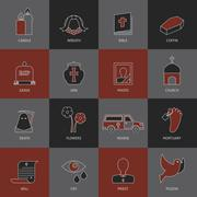 Funeral icons set - stock illustration