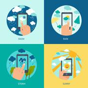Weather smart phone set - stock illustration