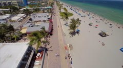 Aerial Hollywood Beach boardwalk - stock footage
