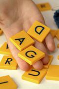 Child learning the alphabet Stock Photos