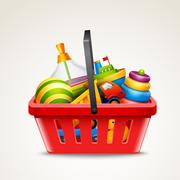 Toys in shopping basket Stock Illustration