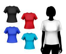 T-shirts female set - stock illustration