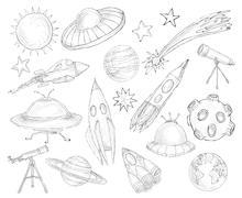 Space objects sketch set Stock Illustration