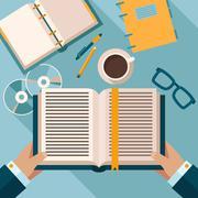 Reading books on desktop - stock illustration