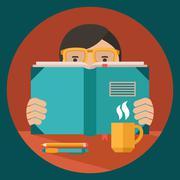 Stock Illustration of Man reading book