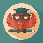 Owl in graduation cap - stock illustration