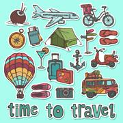 Travel sketch stickers set - stock illustration