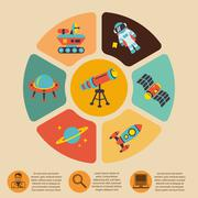 Space icons infographics Piirros