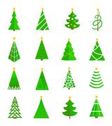 Christmas tree icons flat - stock illustration