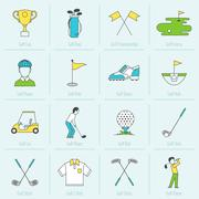 Golf Icons Flat Line Stock Illustration