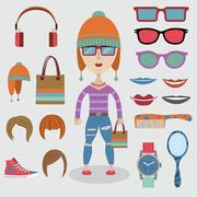 Hipster girl setti Piirros