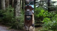 Second Twin pole, totem pole, sitka national historical park, sitka, alaska Stock Footage