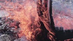 Stock Video Footage of Burning wood