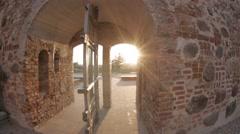 Mir Castle, fisheye, Sunset Stock Footage