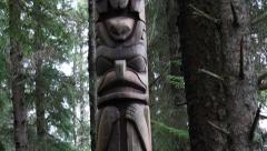 Trader Legend pole, totem pole, sitka national historical park, sitka, alaska - stock footage
