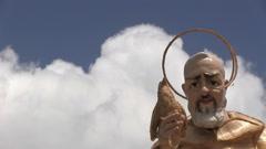 Italy - Campania - Padre Pio - Statue Stock Footage
