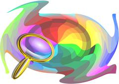 multicolor background and magnifier - stock illustration
