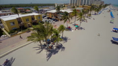 Aerial Hollywood Beach boardwalk 3 Stock Footage