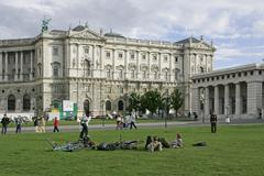 Hte building of the hofburg viewed from the public garden vienna austria Stock Photos