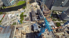 Aerial drone video Brickell City Center cranes 2 Stock Footage