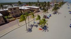 Aerial Hollywood Beach boardwalk 2 - stock footage