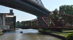 4K Cleveland Drawbridge Swings Close Stock Footage