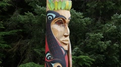 Tilt up,totem pole, sitka national historical park, sitka, alaska Stock Footage