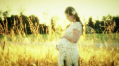 Pregnant woman in a field - stock footage