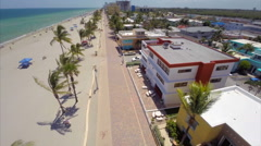 Aerial Hollywood Beach boardwalk 4 Stock Footage