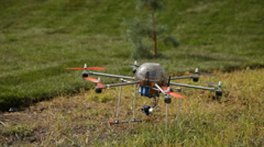 Photography multirotor helicopter takes off Stock Footage