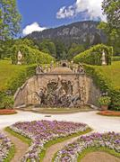 Germany bavaria upper bavaria linderhof park grounds neptuns fountain horses  Stock Photos