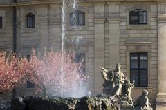 Wurzburg Hofgarten Residenz fountain sculptures Raub der Europa from Johann Stock Photos