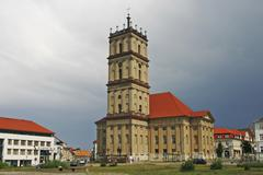 BRD Germany Brandenburg Neustrelitz Church at the Market with Thunderstorm Sky - stock photo