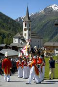 Stock Photo of corpus christi procession grenadiers of the lord approaching the church kippe