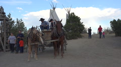 Horse and wagon historic religious pageant Stock Footage