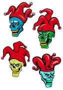 Cartoon clown and joker skulls Stock Illustration