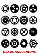 Gears and pinions set Stock Illustration