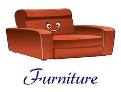 cartoon couch furniture character - stock illustration