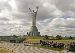 ukraine kiev mother of native country monumental memorial 1982 is 96 m high i - stock photo