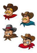 Cartoon western brutal cowboys mascots Stock Illustration