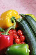 Vegetable mix with capsicum, tomatos, zucchini Stock Photos