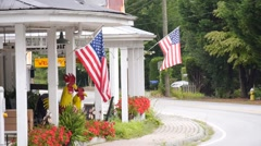 Country store with American flags. Stock Footage