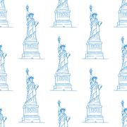 Statue of liberty seamless pattern Stock Illustration