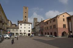 Alba Piedmont Piemonte Italy dynasty tower at the Piazza del Risorgimento Stock Photos