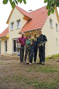 People on house construction site Nuremberg Bavaria Germany Stock Photos