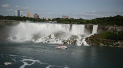 Niagara Falls with Cruise Ship, US-Canadian border Stock Footage