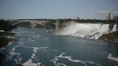 Rainbow Bridge at Niagara Falls on the USA-Canadian border Stock Footage