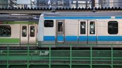 Elevated railtrack in Akihabara, Tokyo, Japan - stock footage